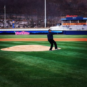 Reggie Jackson Throwing out the First Pitch at the..